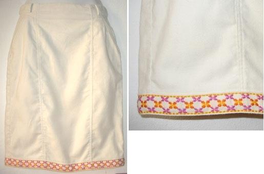 witte rok met folklore kantrand,  maat XS