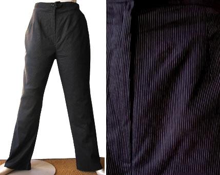 RAAM-pantalon met zilver krijtstreepje,  maat L / XL