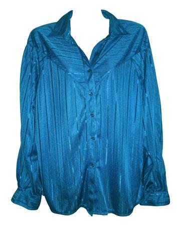 felblauwe vintage blouse met glansstreep,  maat 40