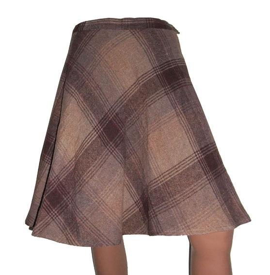 vintage rok in herfstkleuren,  maat S