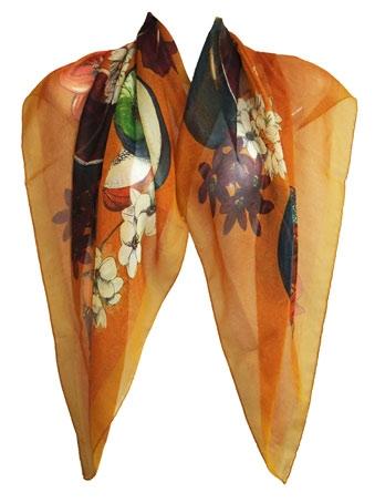 sjaal met fruit en bloemen