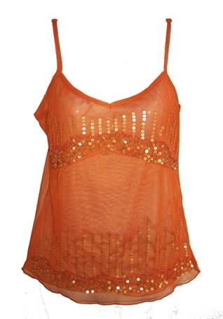 oranje top met goudpailletten,  maat XS