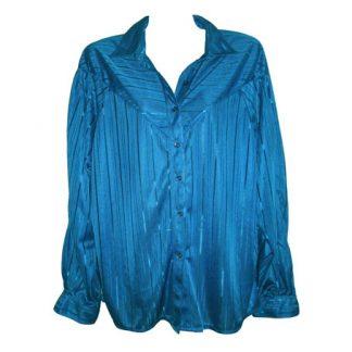 felblauwe vintage blouse met glansstreep