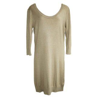 zandkleurige gebreide jurk