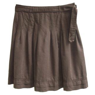 bruine plooirok in linnen en katoen