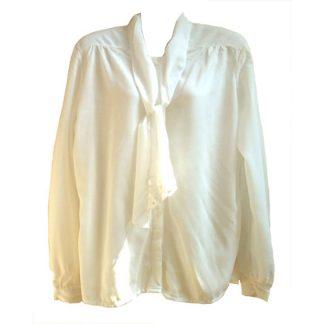 roomwitte vintage blouse met cravatkraag